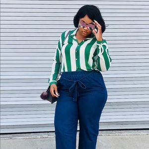 Forever 21 + Green and White Striped Sheer Blouse